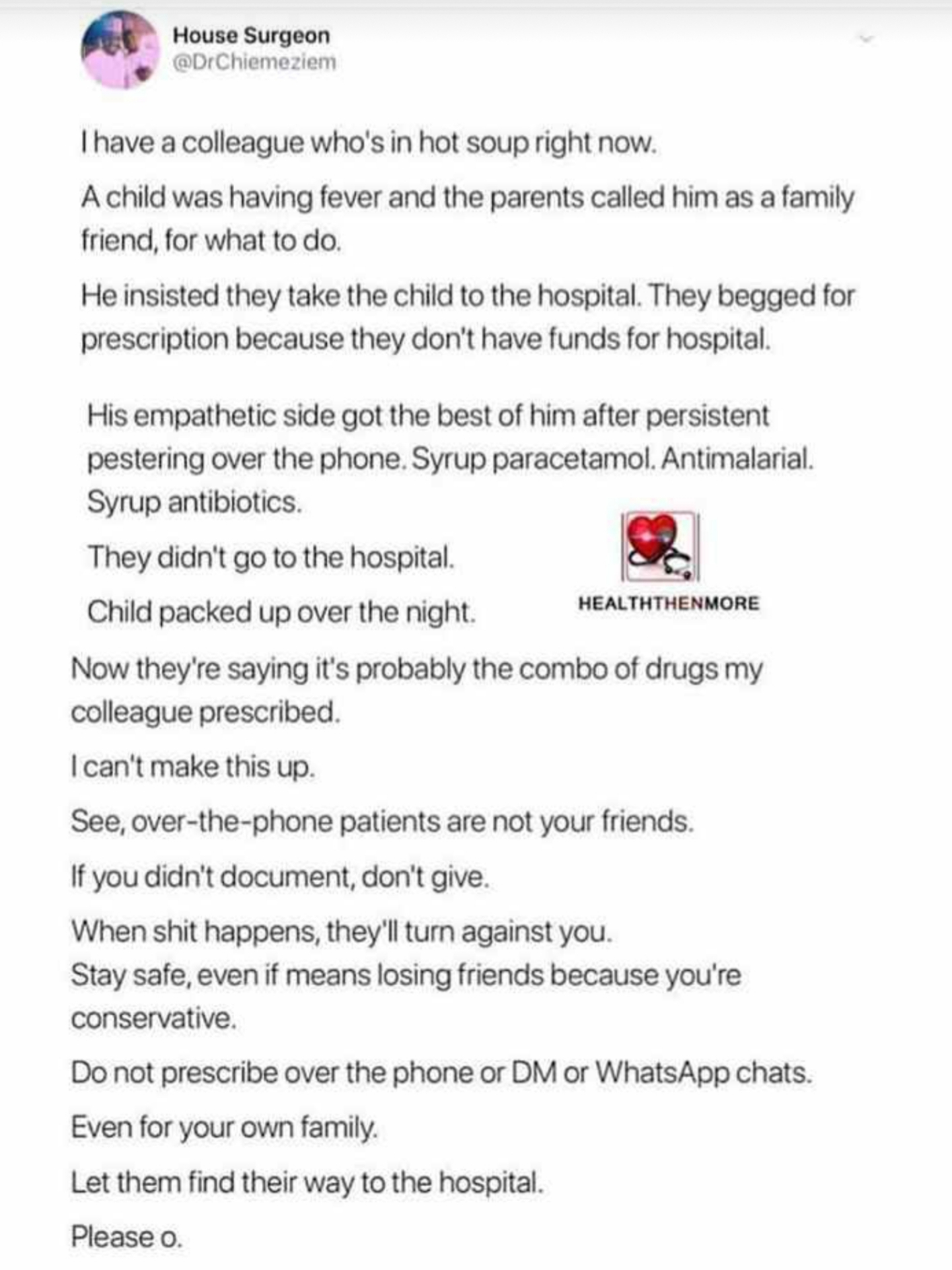 Say no to over the phone prescription